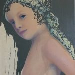 Dutch girl-gray cap - olieverf/betonverf/doek - 40 x 30 cm - privécollectie