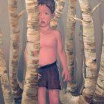 Jongetje in bos - olieverf/linnen - 150 x 150 cm - privécollectie