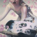 Meisje met hond - olieverf/inkt/spuitlak/doek - 200 x 140 cm - privécollectie